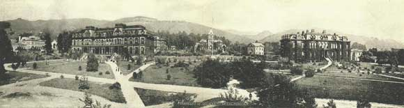Panorama of University of California, postcard (ca.1907), Sarah Wikander collection.