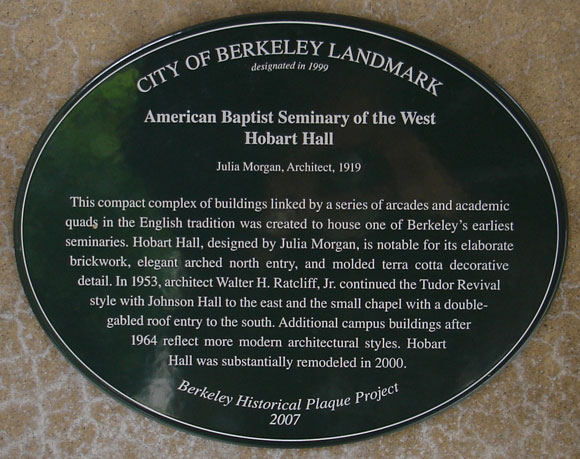 Baptist Seminary of the West Plaque