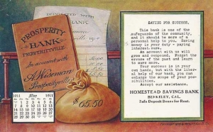 Homestead Savings Bank postcard (ca.1909), Sarah Wikander collection.