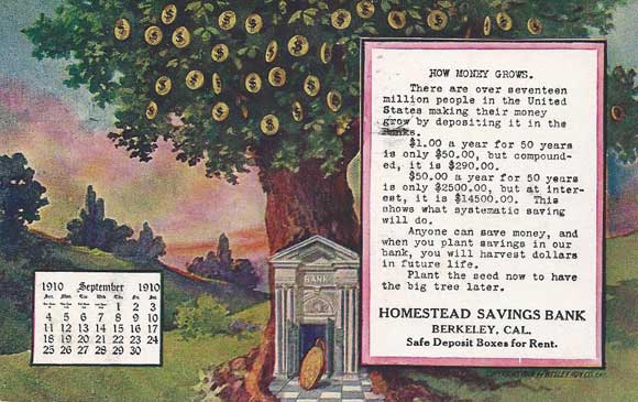Homstead Savings Bank postcard (1909), Sarah Wikander collection.