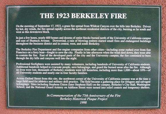 Berkeley Fire, 1923 Plaque