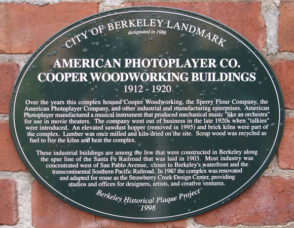 American Photoplayer Co., Cooper Woodworking Buildings Plaque