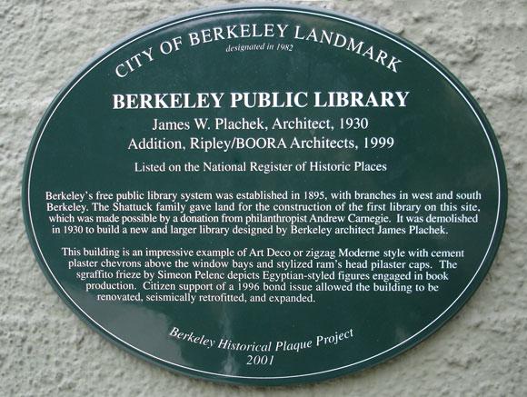 Berkeley Public Library, Main Branch Plaque