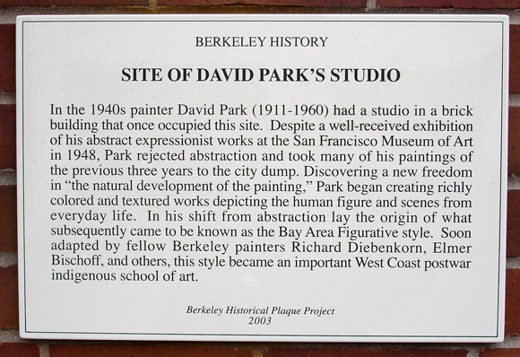 David Park's Studio, site Plaque