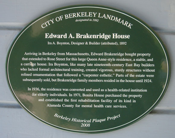 Edward A. Brakenridge House (Bonita House) Plaque