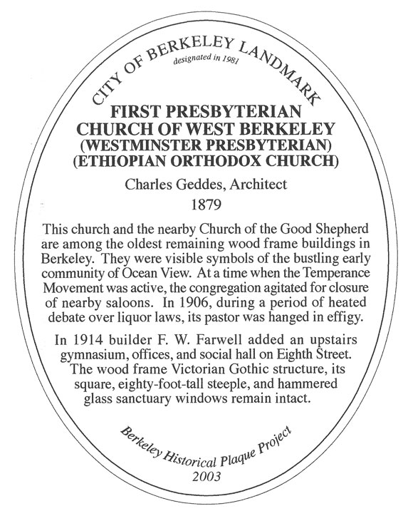 First Presbyterian Church of West Berkeley Plaque