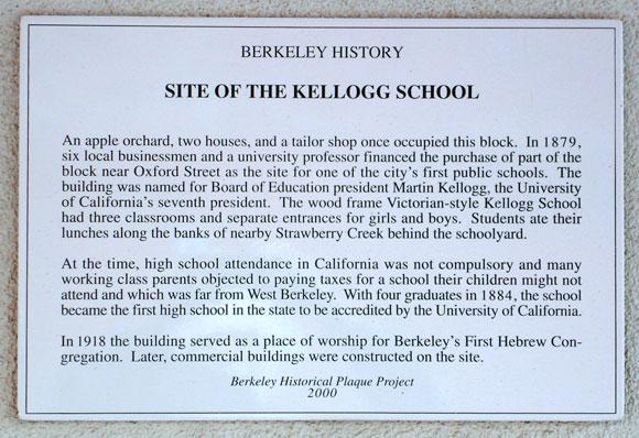 Kellogg School, site Plaque
