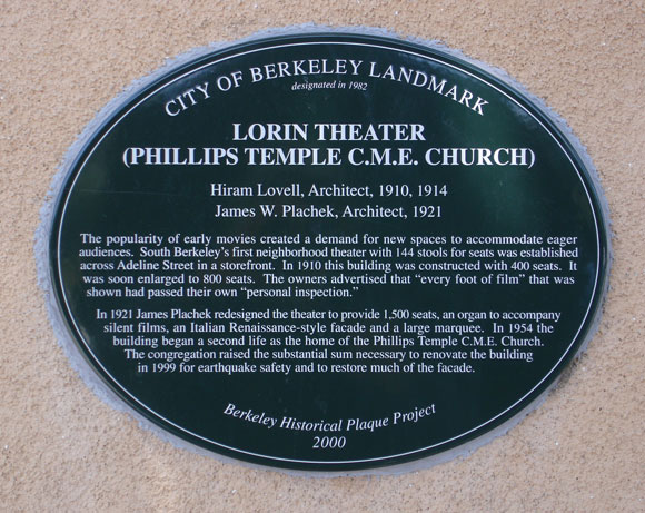 Lorin Theater (Phillips Temple, C.M.E. Church) Plaque