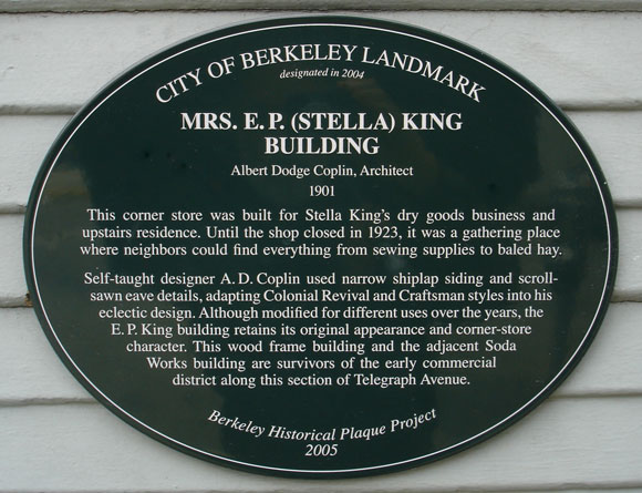 Mrs. E.P. (Stella) King Building Plaque