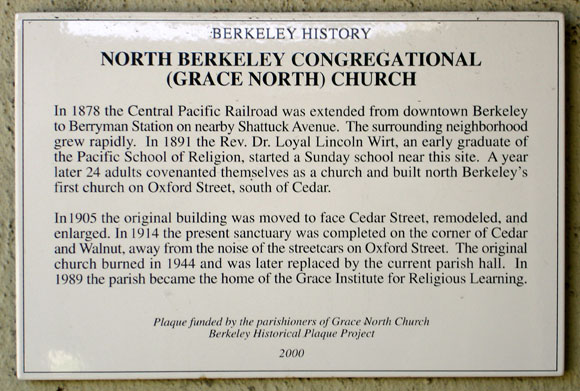 North Berkeley Congregational Church, history Plaque