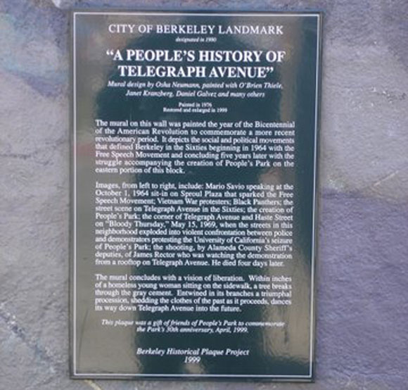 A People's Bicentennial History of Telegraph Avenue Plaque
