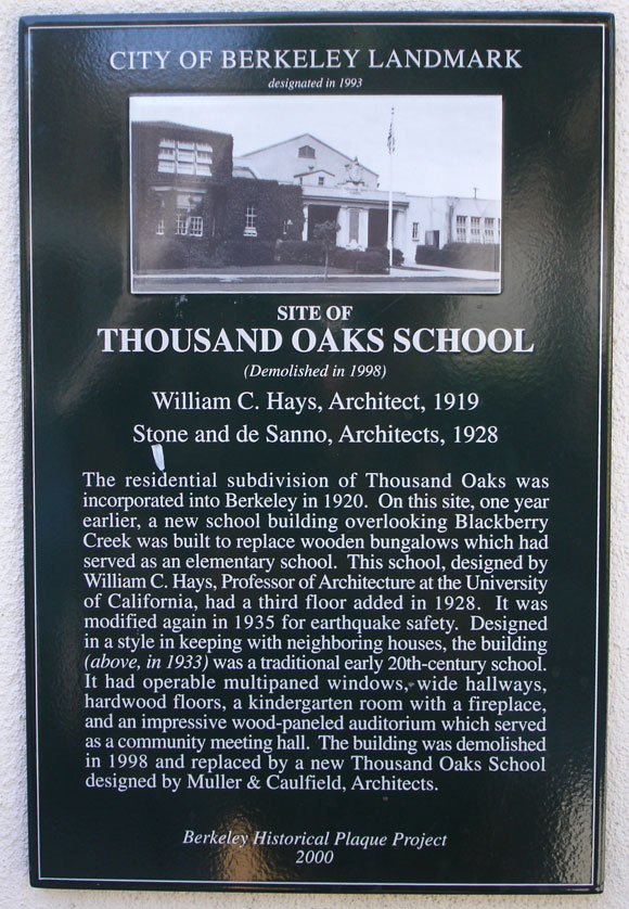 Thousand Oaks School, site Plaque
