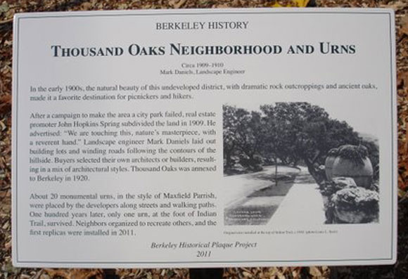 Thousand Oaks Neighborhood and Urns Plaque