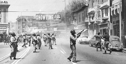 National Guard shooting at People's Park demonstrators (1969), Photo, Ron Stinnett, www.peoplespark.org.