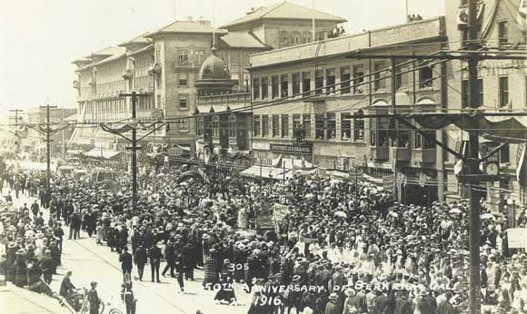Celebrating Berkeley's 50th Anniversary, postcard (1916), Sarah Wikander collection.