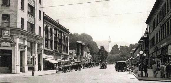 """""""Center Street looking toward University of California,"""" postcard (ca. 1920), Sarah Wikander collection."""