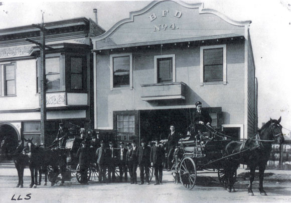 Fire Department at Shattuck near Vine, Louis L. Stein collection, BHS.