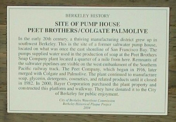 Peet Brothers / Colgate Palmolive Pump House site Plaque