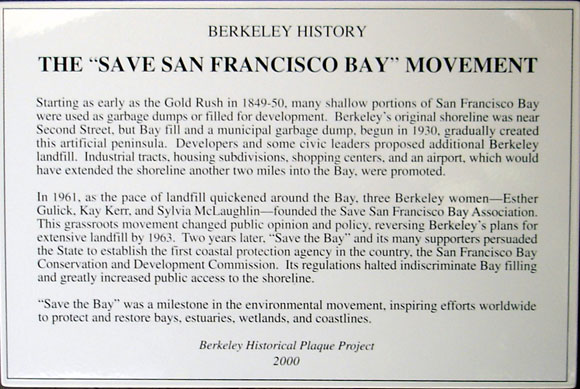 """Save San Francisco Bay"" Movement Plaque"