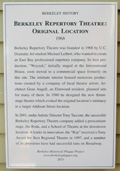 Berkeley Repertory Theatre: Original Location Plaque