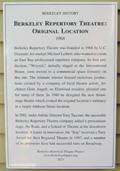 Berkeley Repertory Theatre: Original Location Plaque