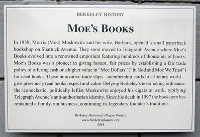 Moe's Books Plaque