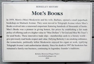 Moe's Books Plaque