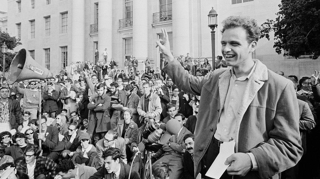 """Ban Free Speech Because Muh Feelings"" Tucker Carlson DESTROYS Liberal Professor - Page 3 Savio-at-Victory-Rally-Photo-1964-AP-npr.org_"