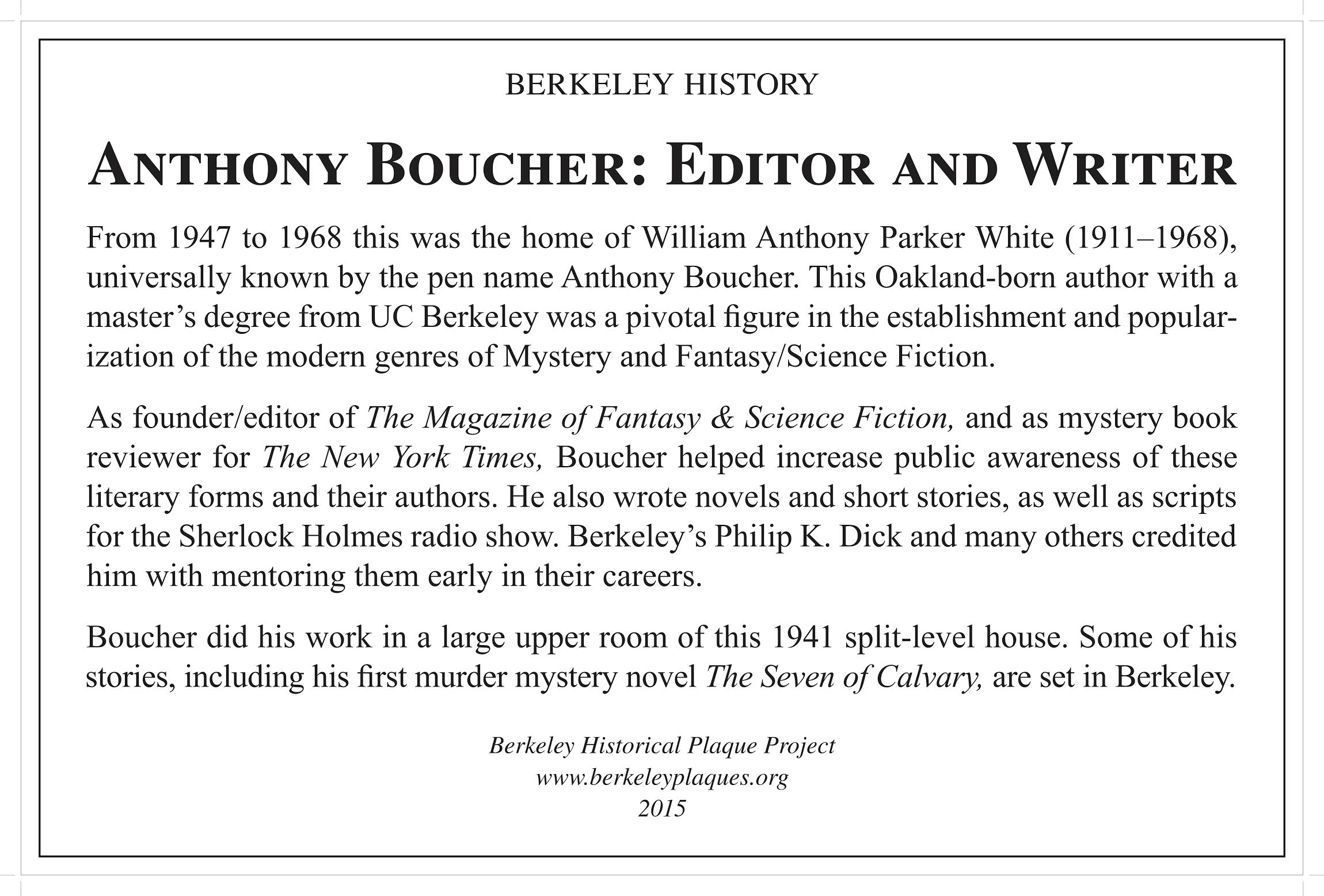Anthony Boucher: Editor and Writer Plaque