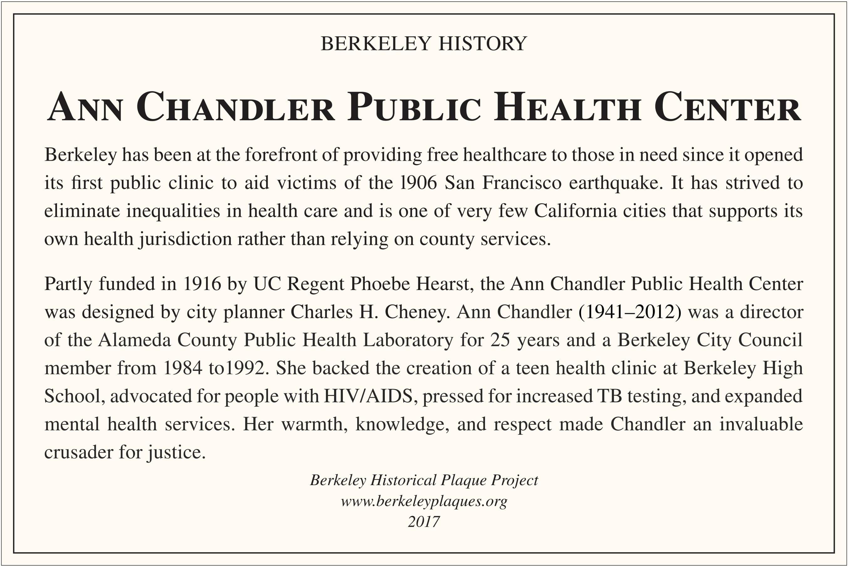 Ann Chandler Public Health Center Plaque
