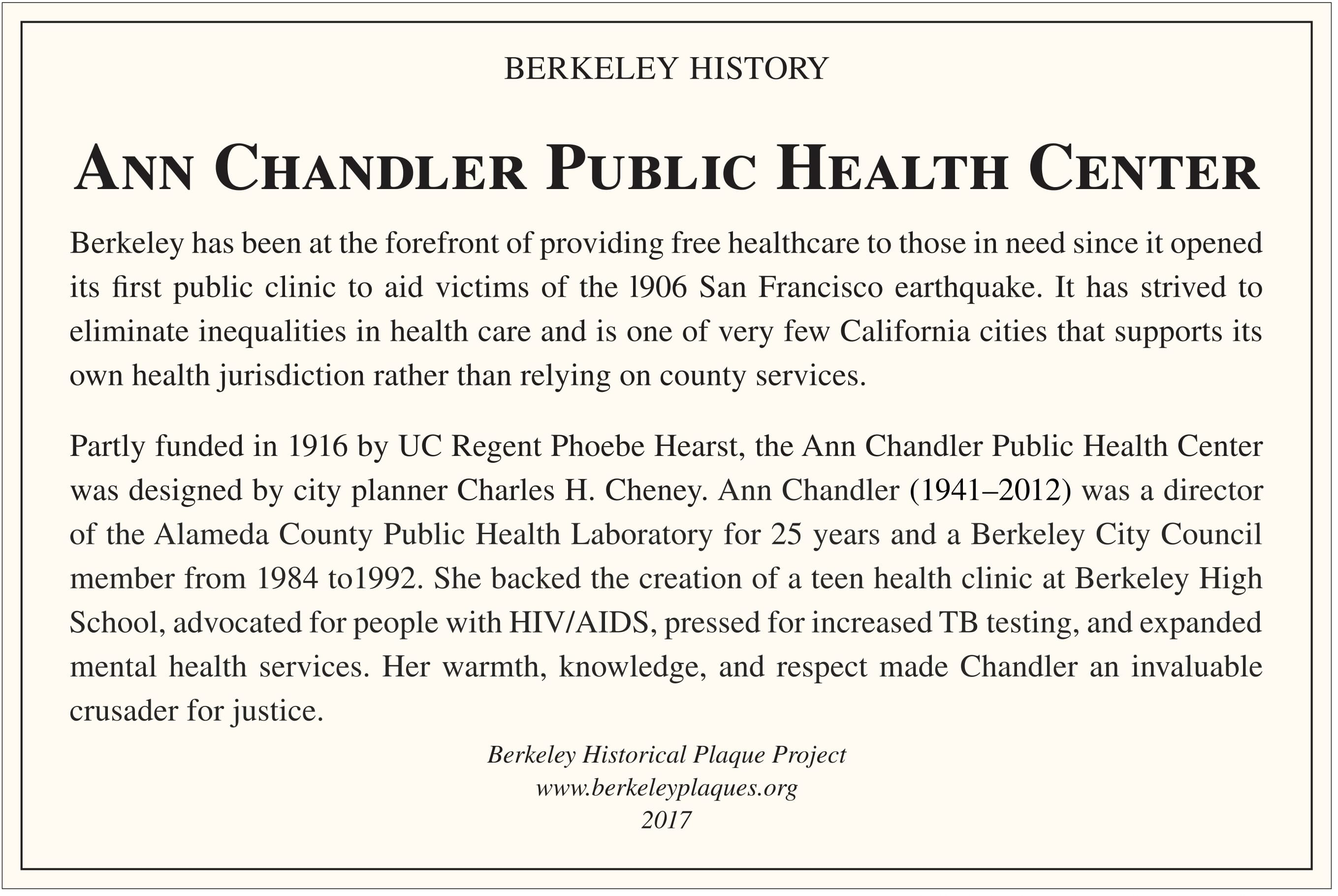 Berkeley Historical Plaque Project – Ann Chandler Public